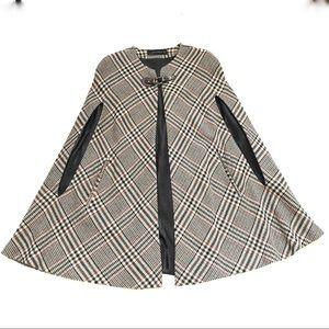 Rare ZARA Tartan Checked Plaid Tweed Wool Cape M